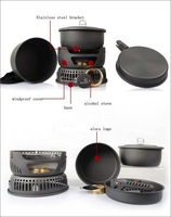 Free shipping 3-4 people camping cooker 10 pieces set,outdoor camping pot set,camping stove