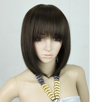 "whole-sales,14"" 110g short Silky Straight Full Lace wig/mixed  human Hair wigs,free shipping"