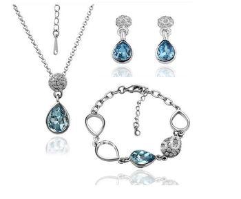 18KS061 18K Gold Plated Jewelry Wedding Set Nickel Free Plating Platinum Rhinestone Made with Austrian  Element Crystal