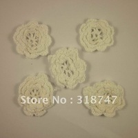 Free shipping Wholesale Handmade cotton 4.5cm white crochet flower(12pcs/Lot)