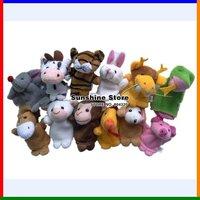 Sunshine store #2A2006  60pcs/lot(12pcs/bags) 12 animals zodiac Cartoon Animal Finger Puppet,finger doll,Animal doll CPAM