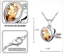 Free Shipping Gift Bag Hotselling New Arrival Crystal Cupid Heart Pendant Necklace crystal jewelry fashion jewelry