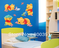 Wholesale Wall Stickers ,Wall Sticker FREE Shipping-Bear Art Wall Sticker Decal  HL968, SIZE 60X33CM ,10pcs/lot