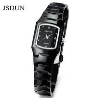 JSDUN Tungsten Steel Bracelet Watch Sapphire Women Dress Rhinestone Watches 3 ATM Waterproof Relogios Feminino Wristwatch 137