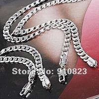 Men's 18K White Gold Filled Necklace Bracelet Set Curb Chain Link GF Jewelry Sets