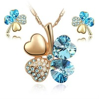 Free shipping gold plated jewelry set with crystal