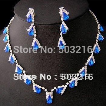 Rhodium Plated Stone Promotion Wedding Jewelry Necklace Earring Set