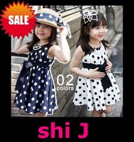 free shipping (5pcs/lot) navy/white cotton woven Retro polka dots with bow belt casual girls' dresses shij014