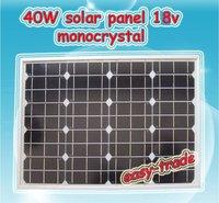 40w 18V Monocrystal Solar Panel Module Charger 12V Battery - 40 watt, low price, free shipping, high efficiency
