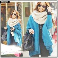 Free shipping casual lady's wool sweater coat winter cloak style women's long sleeve cardigan sweater