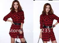 FREE SHIPPING Extra Large Fashion Womens Plaid Cotton Shirt  Long Sleeve