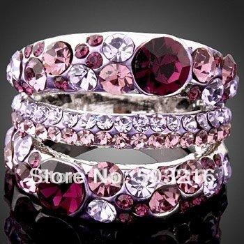 High Quality Purple Crystal Rhodium Plated Wholesale Fahion Imitation Diamond Wedding Ring