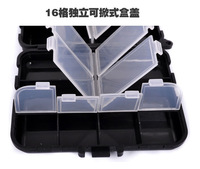 PP box 12.2*10.5*3.5cm changable compartments 4pcs/lot Double layer folding fishing tackle accessories black box