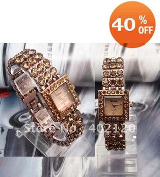 Holiday sale AOYI Brand Watch Top Quality Gold Plated 3 Row Sparkling crystal Japan Movement quartz Watch women ladies,AY8000c
