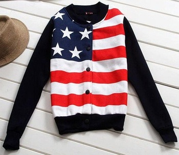 Come on women's baseball jersey sportwears American flag pattern fleeces cotton jacket free shipping 302