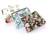 Lovely flower print cotton fabric metal button Coin Purses/Wallet  Model No.110001( Free Shipping)