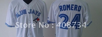 Free shipping-Toronto Blue Jays #24 ROMERO white/blue jersey,Blue Jays jerseys,baseball jerseys