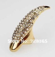 Promotion Price! 2012 Hot  Wholesale Cat Woman Ring Full Solid Nail Ring Fashion Jewelry PUNK crystal Finger Tip Free Shipping#1