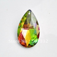 Wholesale AAA Top Quality 38mm 8721 crystal almond pendant beads multi metallic plated colour with silver back 12pcs/lot