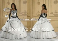 WR1818 Embroidery Organza Black and White Wedding Dress