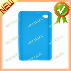 Blue Silicone Back Case Cover Skin for Samsung Galaxy Tab 7.7 P6800, Free Shipping, Mini Order 1 pcs(China (Mainland))