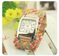 Women wristwatches korea rope watch fashion Braided Leather Cord bracelet leather strap quartz watch Women watches w345a
