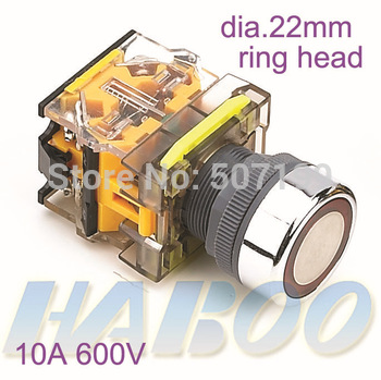 HABOO dia.22mm 600VAC ring color head  1NO+1NC momentary push button switch 5pcs/lot