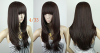 24inch 195G  Indian Blended Hair Full Wig,Silky straight  party wig,color #4t33 Dark Brown,free shipping