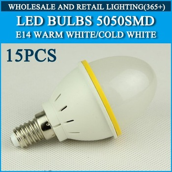 LED Bulb Lamp E14 AC220V 230V 240V Cold white/warm white 4W 270LM 15pcs SMD5050 Free Shipping