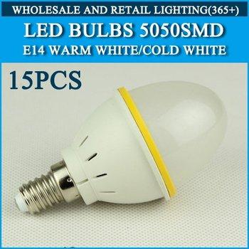 LED Bulb Lamp E14 AC220V 230V 240V Cold white/warm white 4W 270LM 15pcs SMD5050 Free Shipping