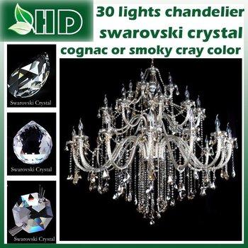 Swarovski crystal 30  lamps smoky gray or cognac color choices  ,modern crystal  chandelier