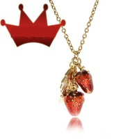 2012 Wedding Vintage Necklace 18K Gold Plated  Drops of Oil Strawberry Pendant Necklace,,Free Shipping
