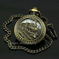 MINGEN SHOP - Fashion Men's Quartz White Dial Retro Train Pocket watch + Chain S189