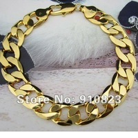 "8.0"" 18K Yellow Gold Filled Men's Bracelet Curb Chain Link GF Jewelry 12MM Width Free Shipping"