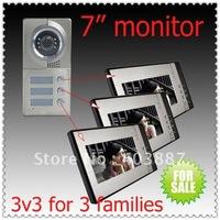 3 keys camera add 3 monitors (Apply to three floors/villas) Free dropshipping video door phone/video intercom systems/door beoll