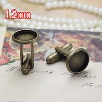 free shipping,100pcs/lot fashion french style ,antique brass 12mm cufflinks, metal cufflinks, fashion jewelry cufflinks