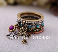 New arrival hot sale imitation gemstone imitation diamond design cross ring set