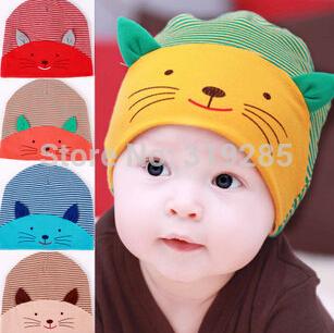 New Design Cute kid cartoon cat style baby cotton beanie cap