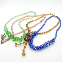 Fashion  Woman's Rondelle Crystal necklace DIY Necklace Unique Handmade Bead Necklace 4pcs Free Shipping HA181 mixed colors