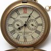 Free Shipping London Brass Archaized 5-Hands Mechanical Hunter Men Pocket Watch Wholesale 547NV Pow
