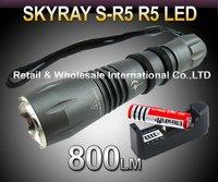 FREE SHIPPING,SKYRAY S-R5 Cree R5 800Lumens 5-Mode LED Flashlight Torch+3000mah 3.7V 18650 Battery+AC Charger