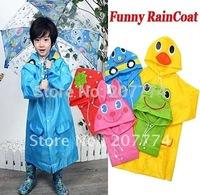 Christmas gift for Kids Funny Raincoat Child Children Cartoon Baby Rain coat -Auto-Duck-Bunny-Frog Free shipping
