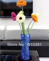 Free shipping Crative DIY 2D-3D Foldable vase folding PVC flower vase protable plastic vase as gift office homeware product.