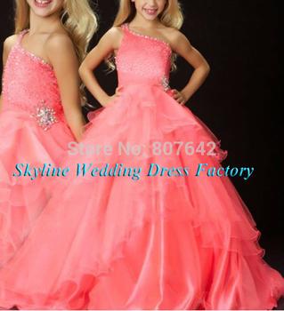 Custom Made A-Line One-shoulder Flower Girl Dress Floor-length Lovely First class Ball Gown Kid Dress Sky740