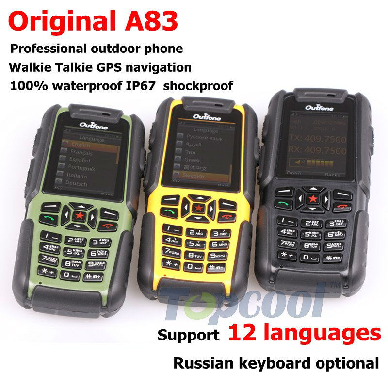 100% Original Outfone A83 outdoor phone Walkie Talkie GPS navigation many maps IP67 Waterproof(China (Mainland))