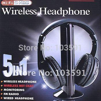 5 in 1 HIFI Wireless headphone Earphone Headset Monitor FM radio for MP4 PC TV audio