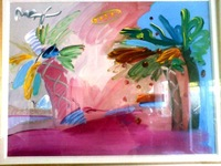 Free Shipping,PETER MAX AMERICAN 500: PALM TREE Mixed Media Painting-POP ART,20*27inch,C650[Colorful Life]