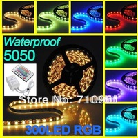 Free shipping 5M 5050 SMD RGB 5m/lot Flexible led strips silicon waterproof IP65 300 LED + 24 Key IR Romote Controller