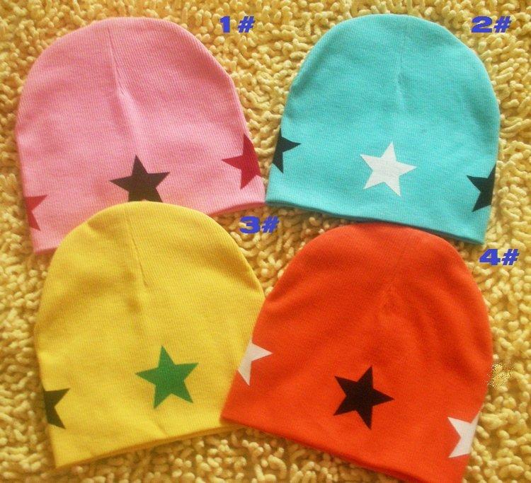 wholesale fashion baby hats infant caps baby cap with star headdress head skull cap beanie cotton kid's hat boy's girl's gift(China (Mainland))
