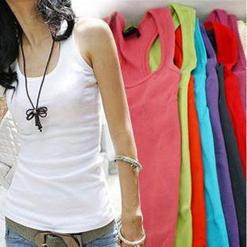 Retail Women  Fashion Cotton Solid Color Tanks / T-shirt Multi-Color For Choose  (KE-08)